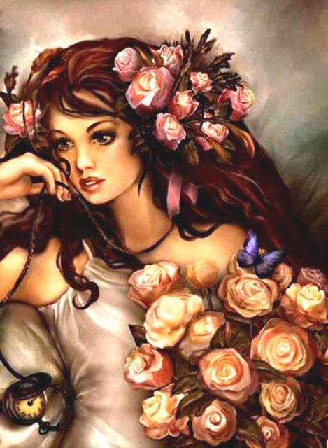 Девушка в розах, цветы,