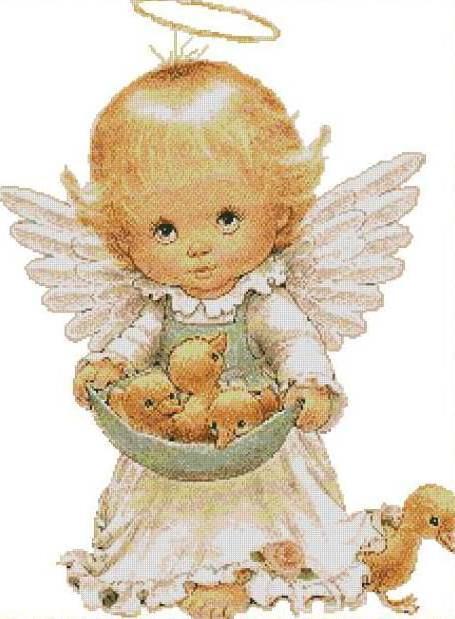 Ангелочек-малыш с утятами,