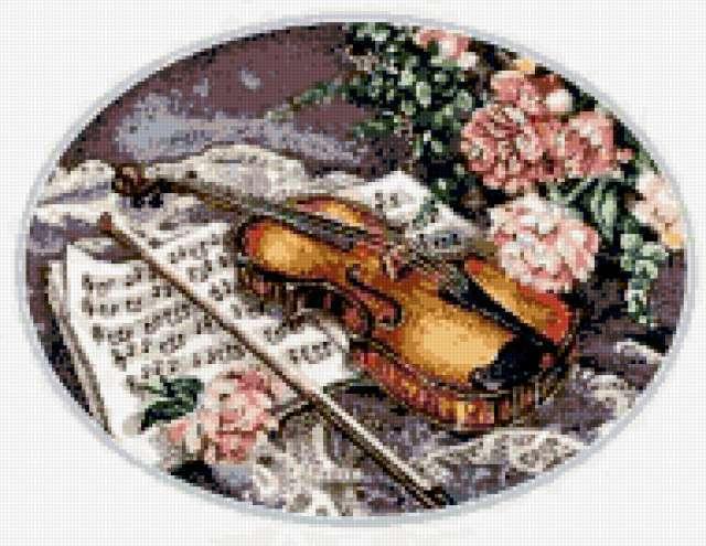 Цветы и скрипка, цветы, розы,