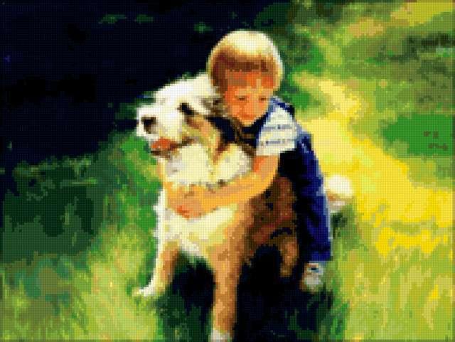 Дети, дети, мальчик, собака