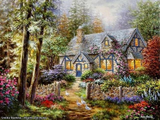 Сказочный домик в цветах,
