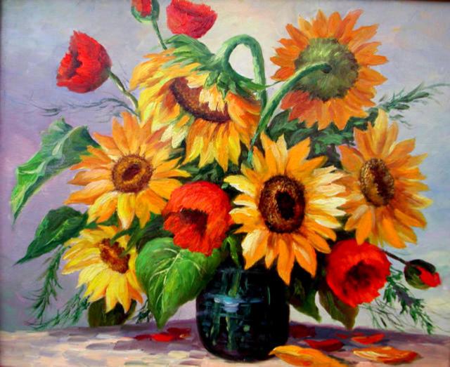 Букет подсолнухов, цветы