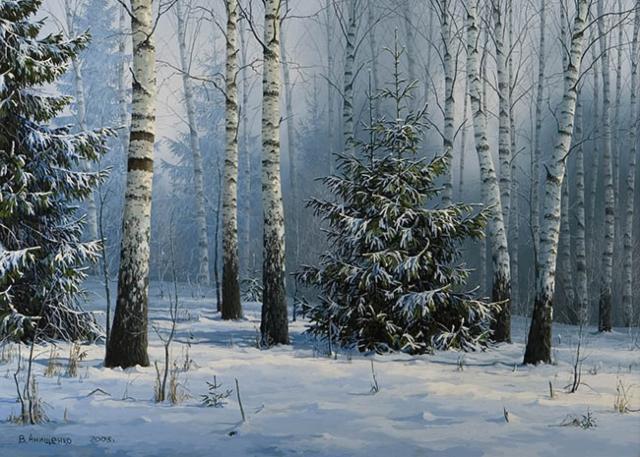 Березовая роща зимой, зима,