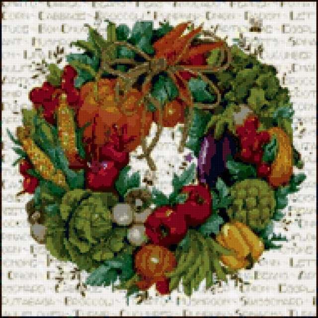 Венок из фруктов и овощей,