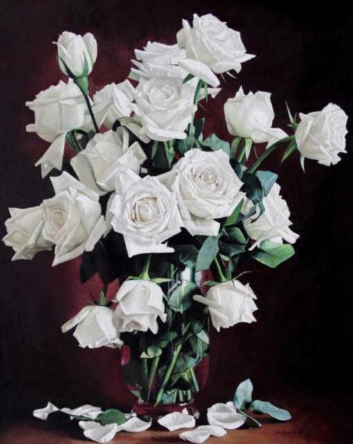 Белые розы в вазе, живопись,