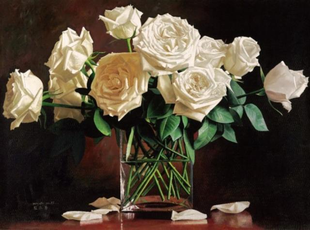 Белые розы в вазе, оригинал