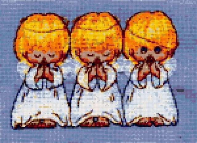Ангелы три вышивка крестом 817