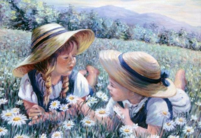 Девочки на ромашковом поле,