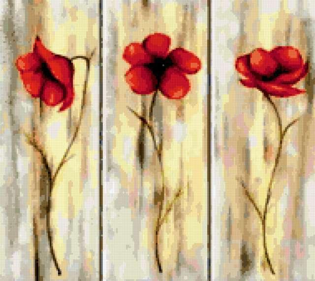 Триптих цветы предпросмотр
