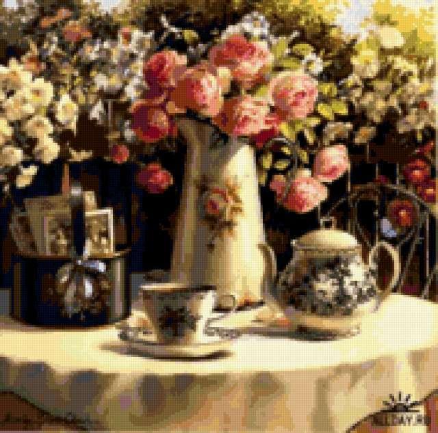 Чайный натюрморт с розами,