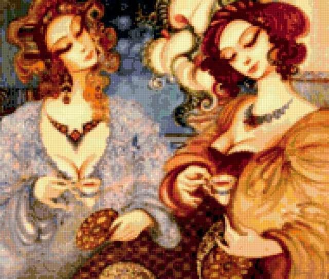Вышивка крестиком за чаем