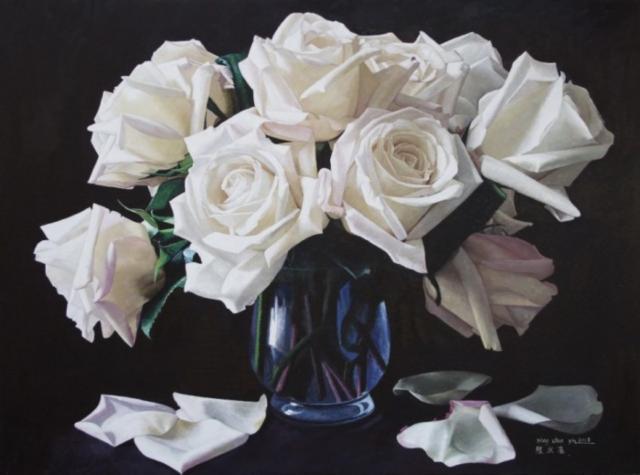 Схема вышивки «Белые розы в