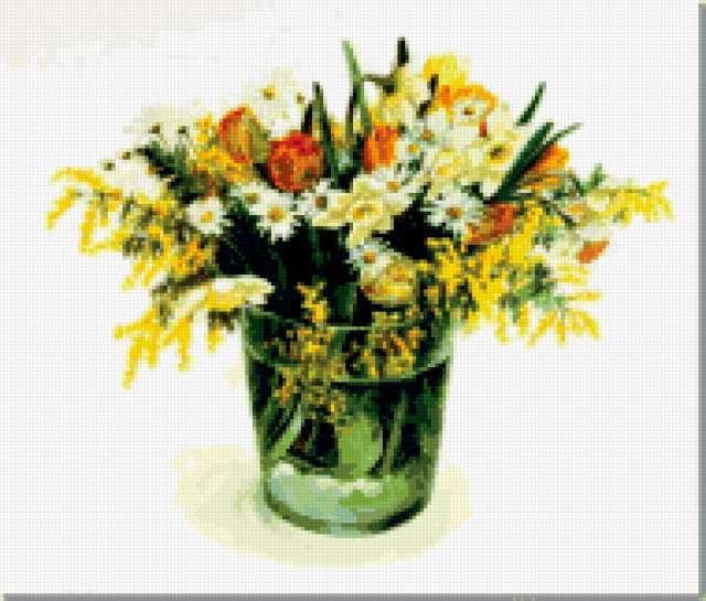 Фуджико,мимоза, букет, цветы,
