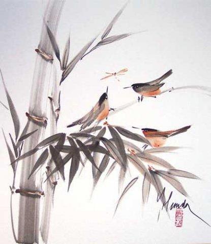 Бамбук, бамбук, птицы, восток,