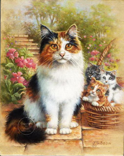 Кошка с котятами, кошка,