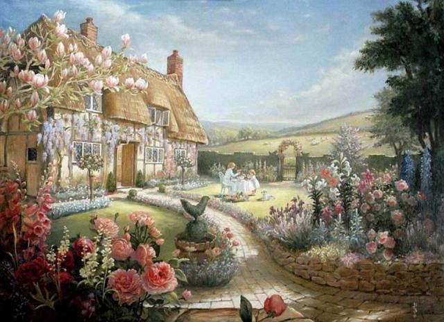 Сельский домик, дорожка, цветы