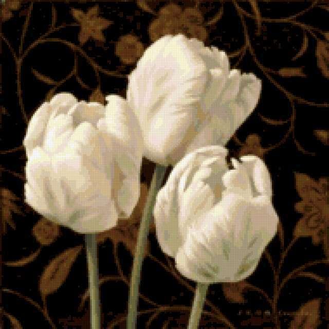 Подушка - Белые тюльпаны