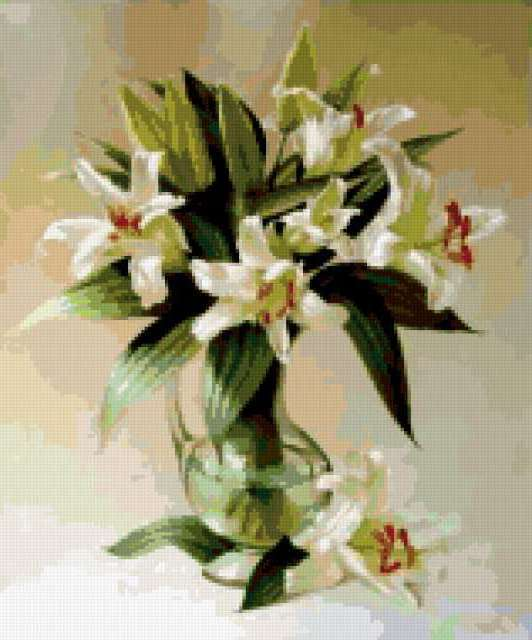 Натюрморт с белыми лилиями,