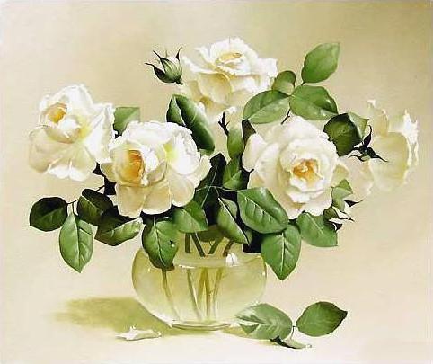 Натюрморт с белыми розами,