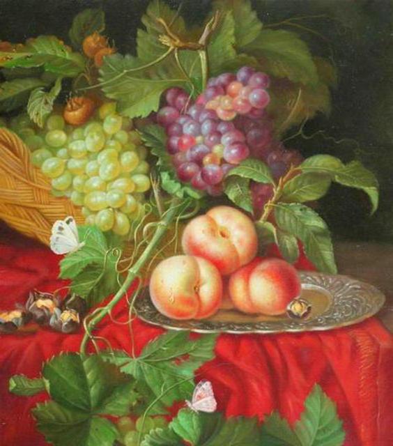 Виноград и персики, натюрморт,
