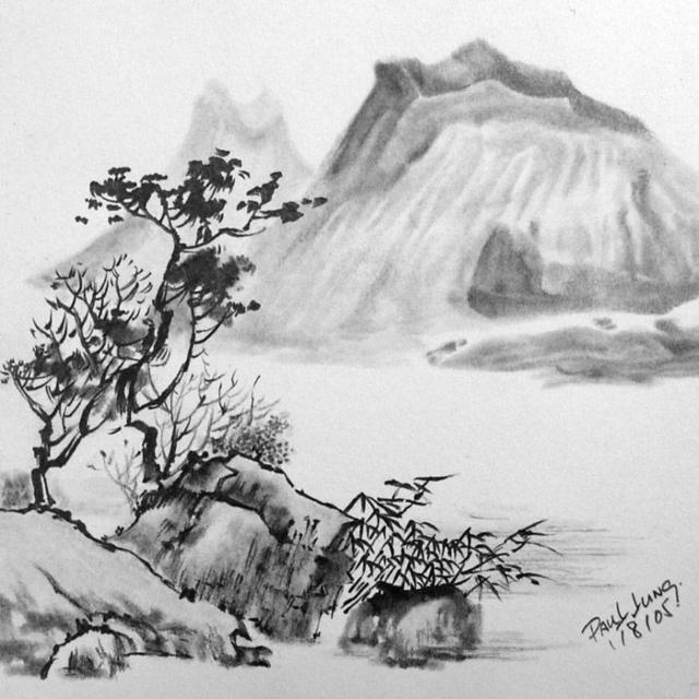 Чёрно- белый пейзаж, оригинал