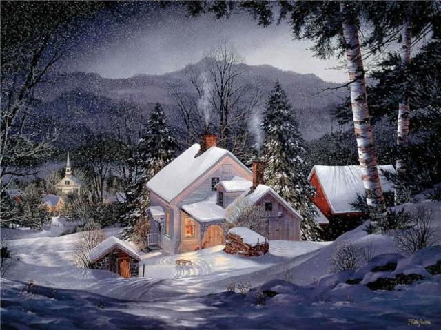 Зимняя деревня, природа, зима,