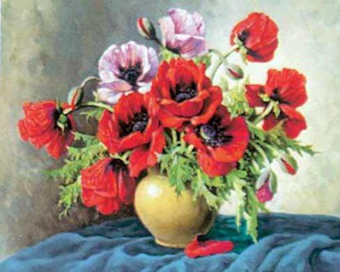 Букет маки, маки, цветы, ваза,