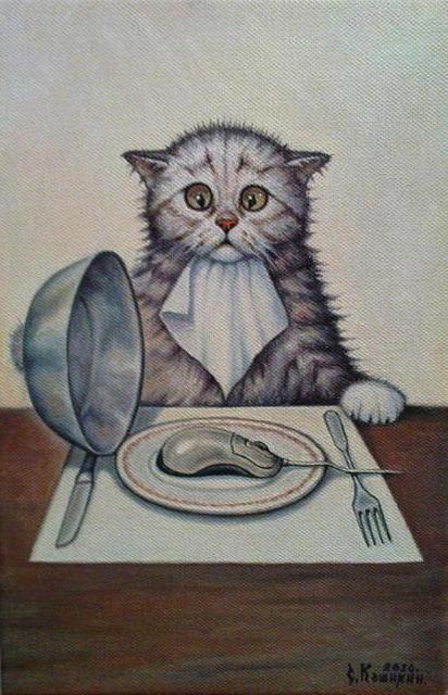 Еды не будет..., кошка,