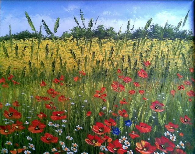 Маковое поле, живопись