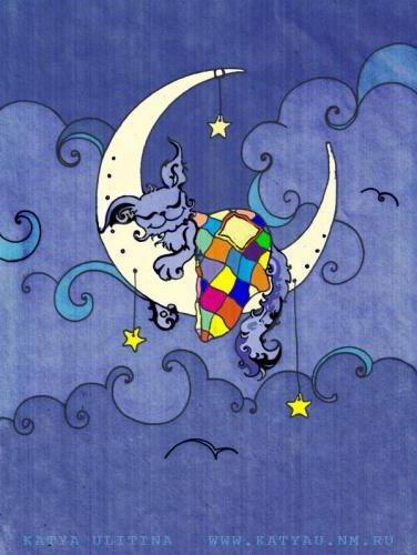 Кот на луне, картинка,