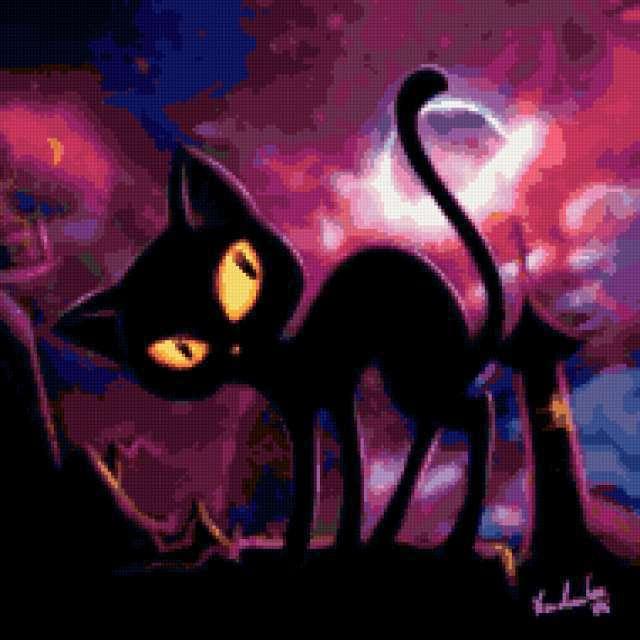 Подушка - черный кот