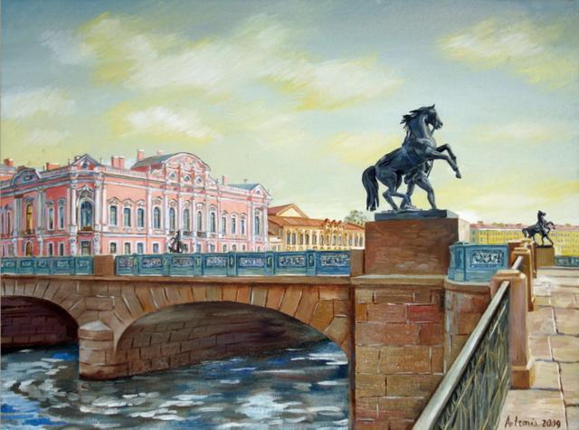 петербург, аничков мост