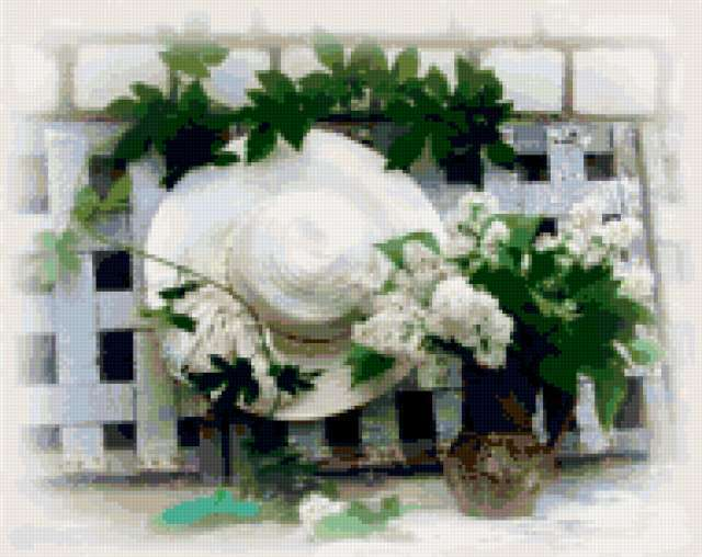 Белый натюрморт со шляпой,