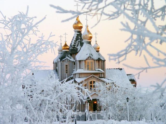 Зима, церковь, живопись