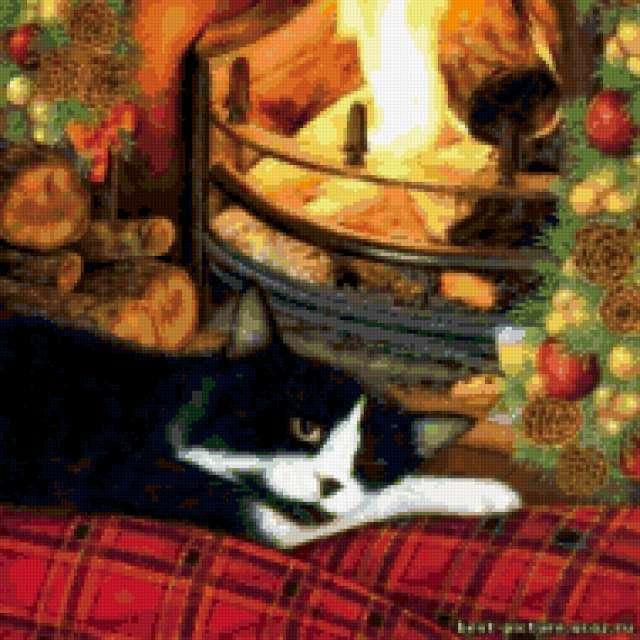 Кот у камина, предпросмотр