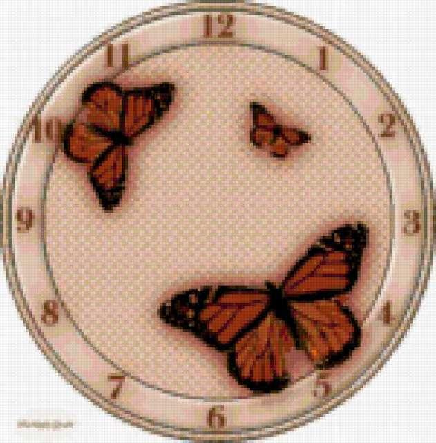 Часы с бабочками, предпросмотр