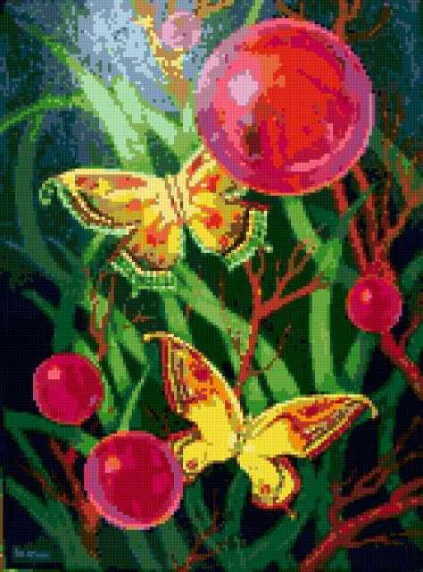 Бабочки и шарики, предпросмотр