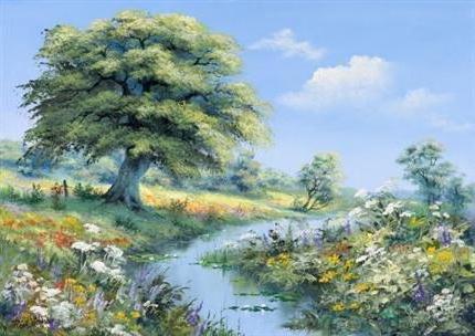 пейзаж, поле, дорога, липа
