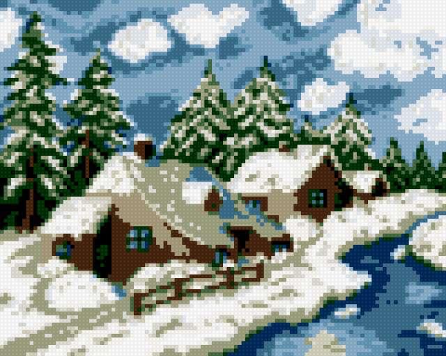Зимний пейзаж домики в лесу,
