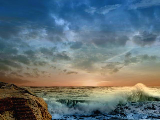 Море - небо, пейзаж, море,