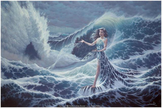 Волна, фэнтези, девушка