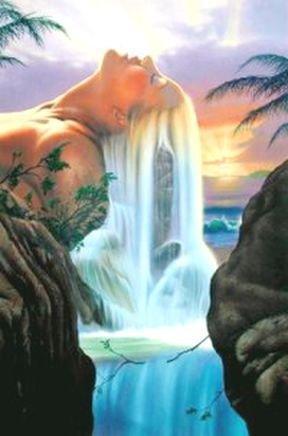 Вышивка крестом девушка у водопада