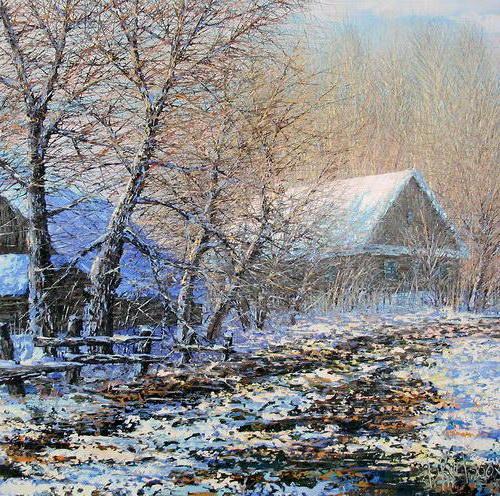 Зима в деревне, зима, дома,