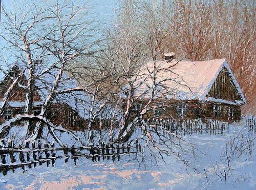 Зимнее утро в деревне, зима,