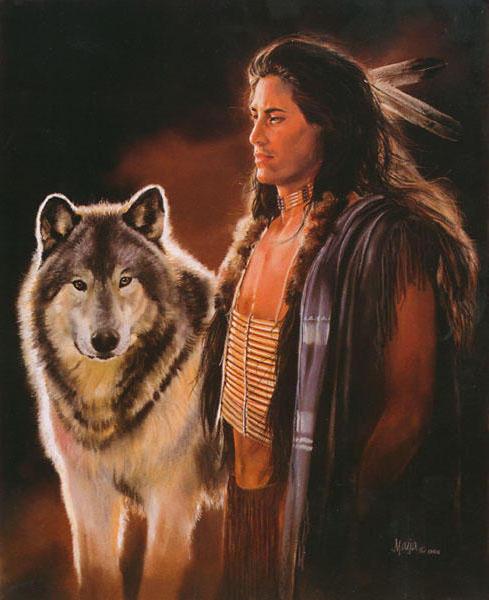 Индеец и волк, оригинал