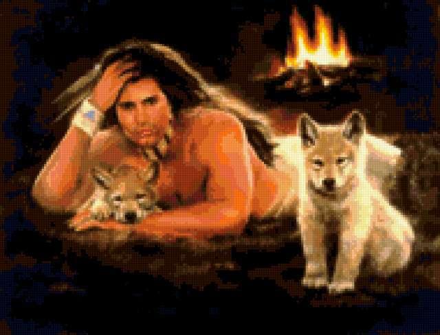 Индеец и волчата, предпросмотр