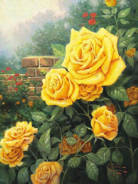 Желтые розы в саду, живопись,