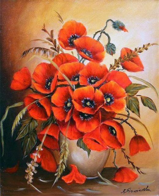 Букет маков, цветы, ваза,