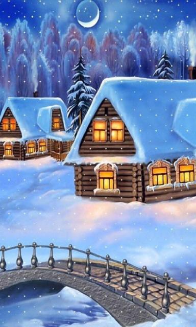 Зимняя ночь, зима, деревня,