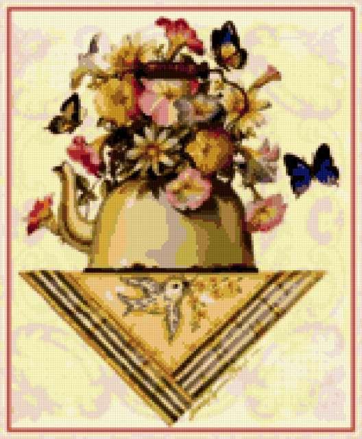 Цветы в чайничке, предпросмотр